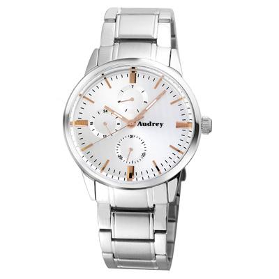 Audrey 歐德利 時尚三眼腕錶(AUM5656)白面-41mm