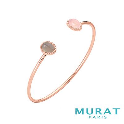 MURAT Paris米哈巴黎 天然粉色玉石手環(玫瑰金)