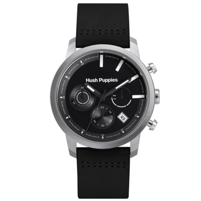 Hush Puppies 結構式風格三眼腕錶-黑色/43mm