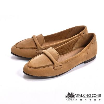 WALKING-ZONE-英倫簡約麂皮尖頭淑女鞋