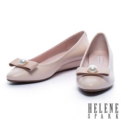 低跟鞋-HELENE-SPARK-珍珠織帶蝴蝶結全真皮羊皮楔型低跟鞋-粉