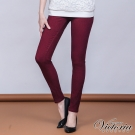 Victoria 中腰提花燙鑽窄管色褲-女-暗紅