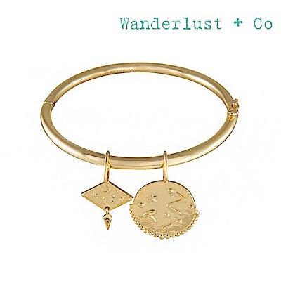 Wanderlust+Co 澳洲時尚品牌 INES宇宙星系鑲鋯吊牌手環 金色
