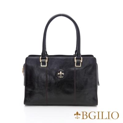 【義大利BGilio】復古牛皮方包(中款)-黑1561.001A-05