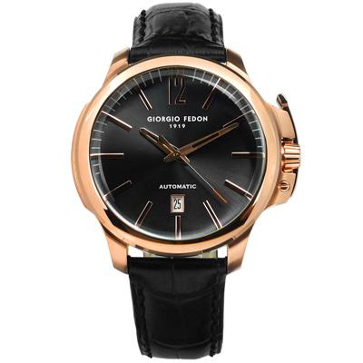 GIORGIO FEDON 1919 自動上鍊機械錶真皮手錶-深灰x玫瑰金框x黑/46mm