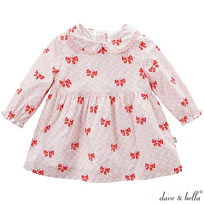 Dave Bella 雙圓領淺粉紅色蝴蝶印花長袖洋裝