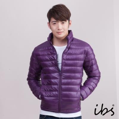 ibs 極輕量純白絨立領羽絨外套-深紫-男