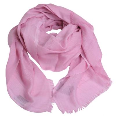 GUCCI ST AMELUX經典GG LOGO棉混喀什米爾絲優雅造型披肩圍巾(粉紅)