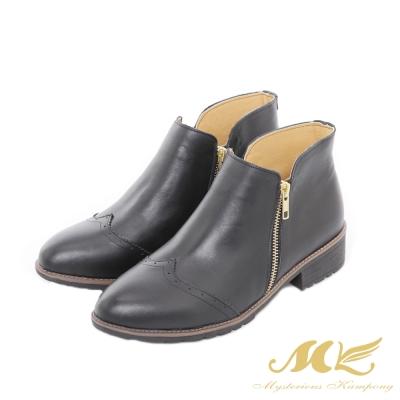 MK-台灣全真皮-英倫牛津雕花拼接平底粗跟短靴-黑色
