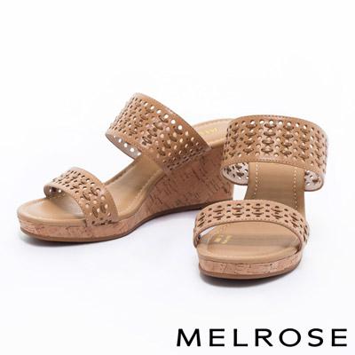 拖鞋-MELROSE-編織風寬版一字造型羊皮楔型高跟拖鞋-米