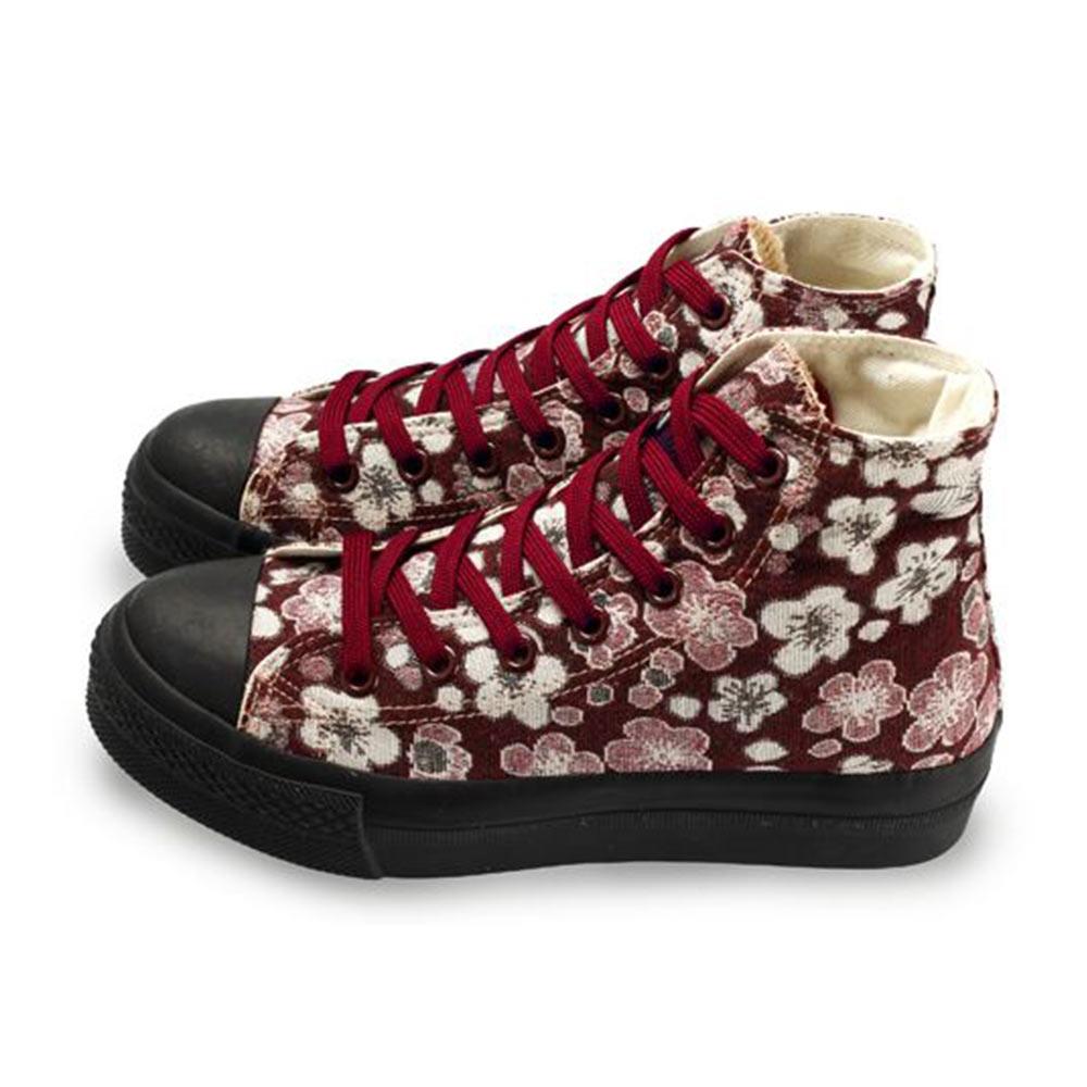 FUFA  MIT  古典花卉高筒帆布鞋  (T85) 紅花