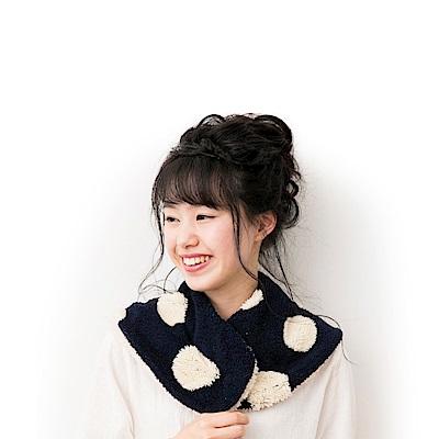 日本AUBE 普普風鈕扣式絨毛圍巾披肩