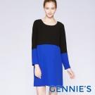 Gennies專櫃-假兩件拼接洋裝-黑藍(C1C04)-M