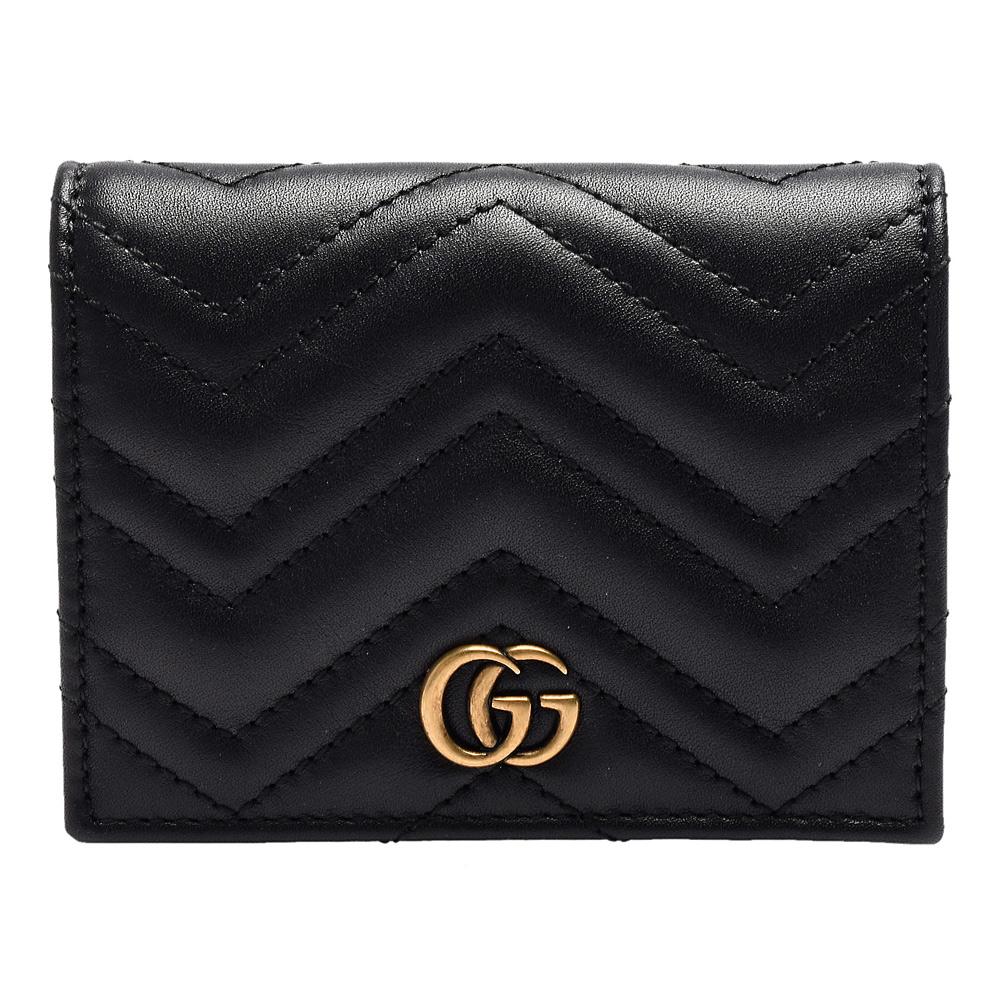 GUCCI GG Marmont系列絎縫紋牛皮金屬雙G LOGO暗釦卡夾/零錢包(黑)GUCCI