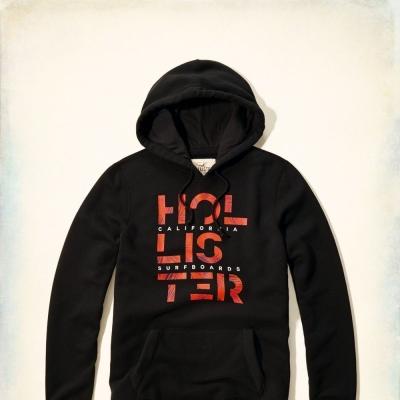 Hollister HCO 長袖 文字 連帽T 藍色 265