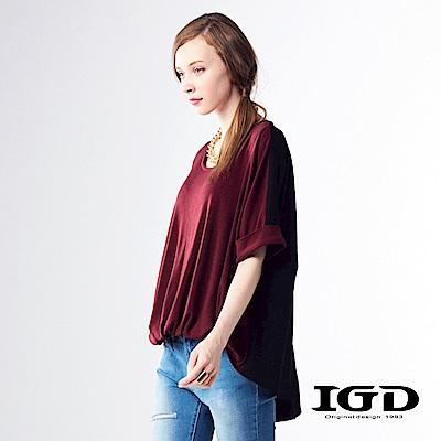 IGD英格麗 彈性寬版收腰造型針織上衣-暗紅