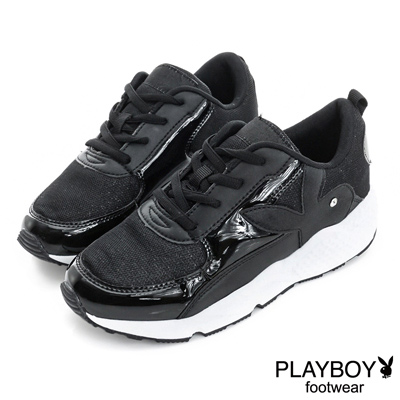 PLAYBOY 璀璨勢力 閃閃亮蔥拼接慢跑運動鞋-黑(女)
