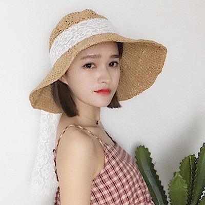 梨花HaNA 韓國小清新蕾絲綁結遮陽草帽SUMMER感