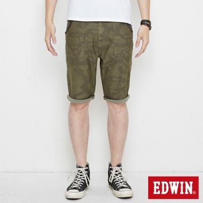 EDWIN 迦績褲JERSEYS迷彩短褲-男-苔綠