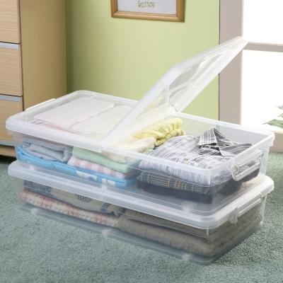 創意達人水晶雙掀式床下扁收納箱35L(3入)
