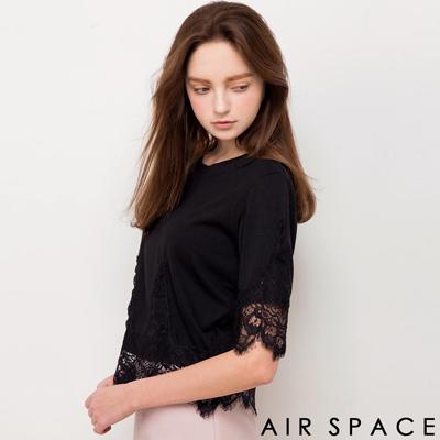 AIR-SPACE-拼接睫毛蕾絲七分袖上衣-黑