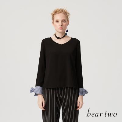beartwo 高雅氣息雪紡拼接丹寧上衣(二色)