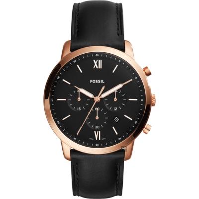 FOSSIL NEUTRA 時尚流行計時手錶(FS5381)-黑x玫塊金框/44mm