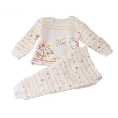 點點條紋三層棉極暖睡衣套裝 黃 k 60218