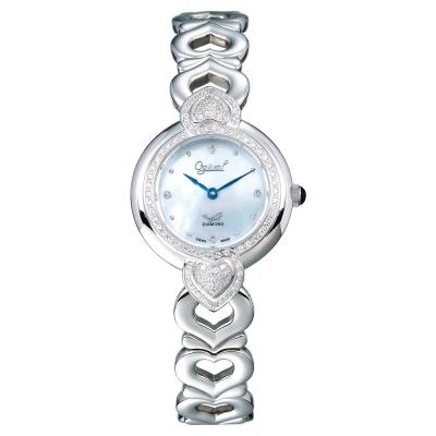 Ogival 瑞士愛其華 晶漾傾心時尚真鑽腕錶-銀藍/28mm