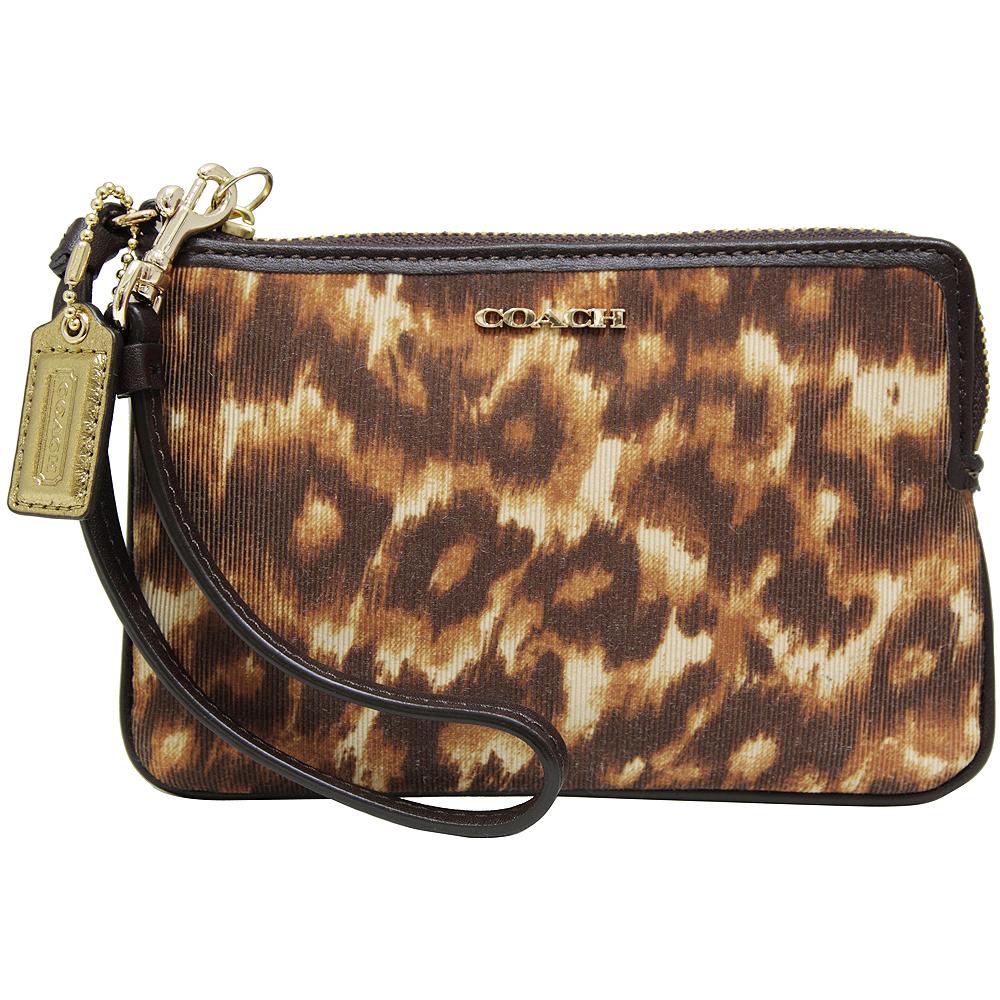 COACH BLEECKER豹紋L型拉鍊織布手拿包