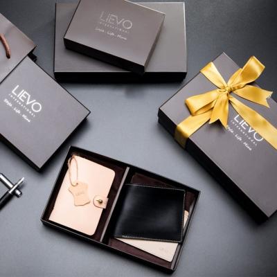 LIEVO EASY - 真皮感應卡片夾+GRACE - 水蠟皮短夾禮盒組