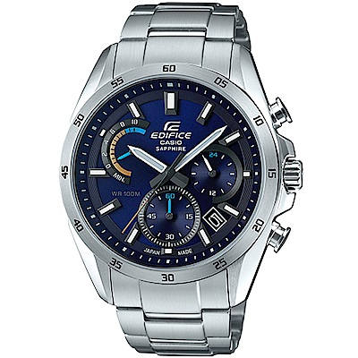EDIFICE 耀眼時尚藍面不鏽鋼腕錶 (EFB-510JD-2A)/44.3 mm