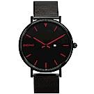 PICONO RGB 系列 輕薄黑色快拆式不鏽鋼網帶手錶 / RGB-6401 紅色