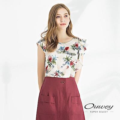 OUWEY歐薇 不對稱荷葉造型熱帶花草印花上衣(米)