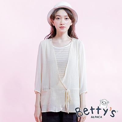 betty's貝蒂思 條紋背心假兩件式拼接雪紡七分袖上衣(淺桔)