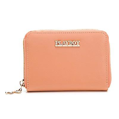PLAYBOY- 零錢夾 經典粉桔羊皮系列-粉桔色