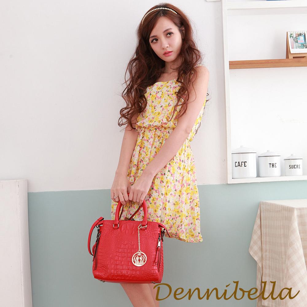 Dennibella 丹妮貝拉 -真皮斜背鱷魚紋包-紅
