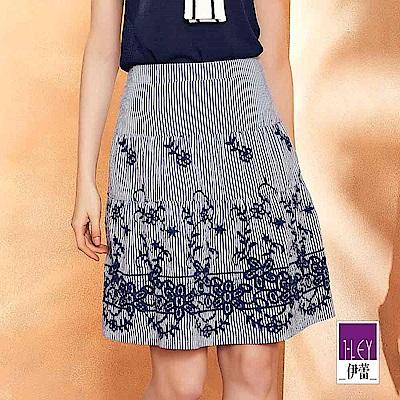 ILEY伊蕾 花卉刺繡裝飾條紋蛋糕裙(藍)
