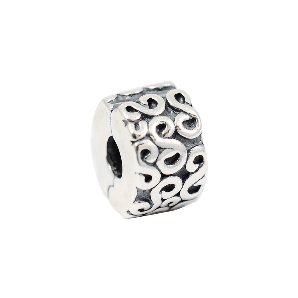 Pandora 潘朵拉 水波紋 夾扣式純銀串珠