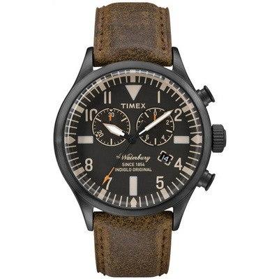 TIMEX-雙眼計時腕錶Waterbury Chronograph系列-黑/褐帶- 42 mm