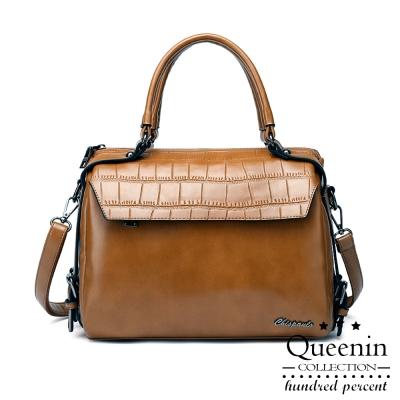 DF Queenin日韓 - 首爾系柔軟手感仿皮款手提斜背包-共2色