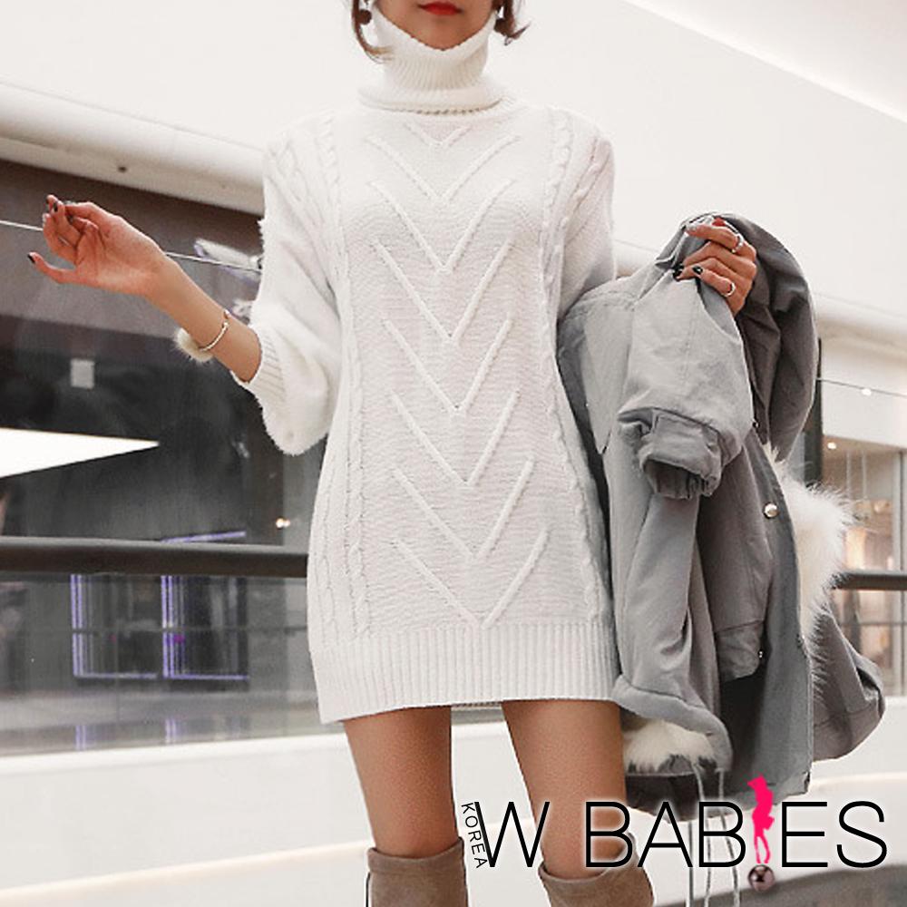 正韓 高領圍脖+麻花針織洋裝 (共二色)-W BABIES