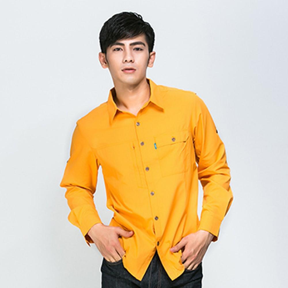 ATUNAS歐都納男款吸溼排汗抗UV長短袖休閒襯衫A-S1502M柑黃