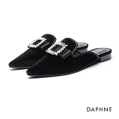 達芙妮DAPHNE 平底鞋-蝴蝶水鑽絨布低跟穆勒鞋-黑