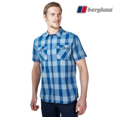【Berghaus貝豪斯】男款銀離子抗菌除臭抗UV短袖襯衫S06M42灰藍