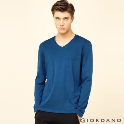 GIORDANO 男裝簡約素色輕磨毛羅紋V領長袖T恤 - 15 深藍色