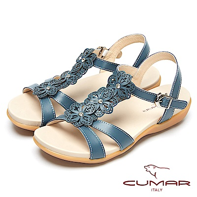 CUMAR心花怒放-皮革花飾真皮平底涼鞋-藍色