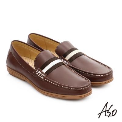 A.S.O 都會休閒 全牛皮彈力抗震直套式休閒皮鞋 咖啡色
