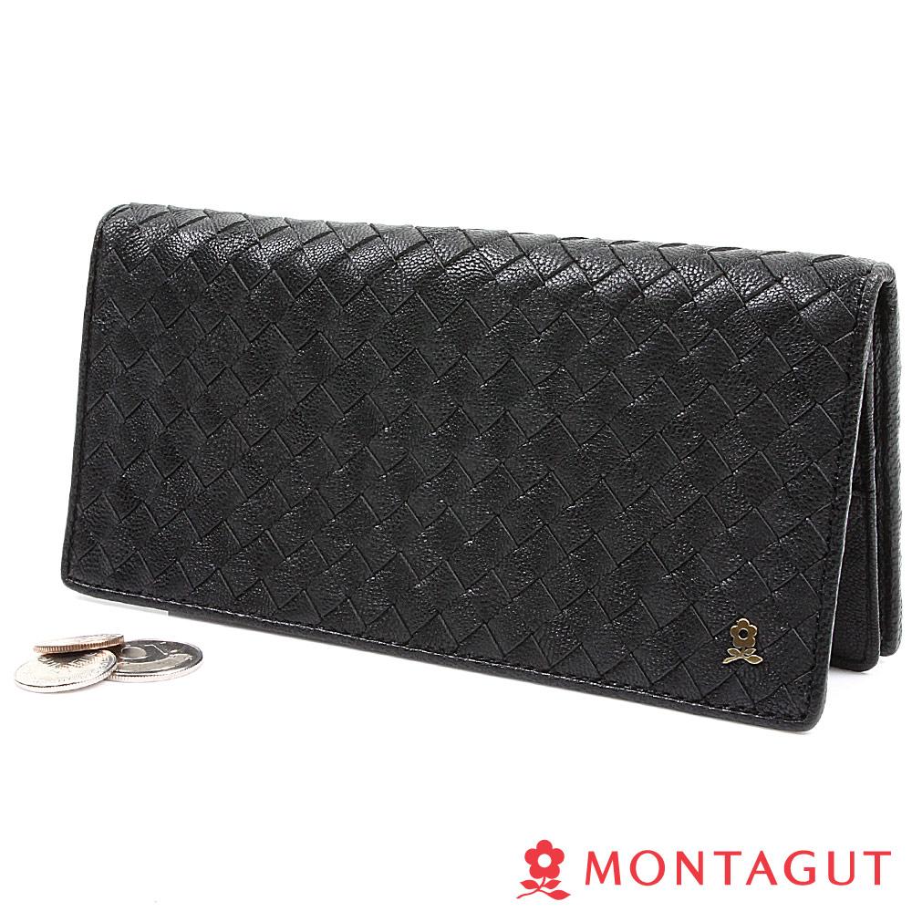 MONTAGUT夢特嬌-編織真羊皮長夾-黑