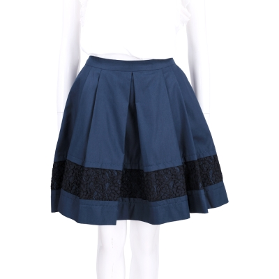 PHILOSOPHY 深藍色蕾拼接絲抓褶及膝裙